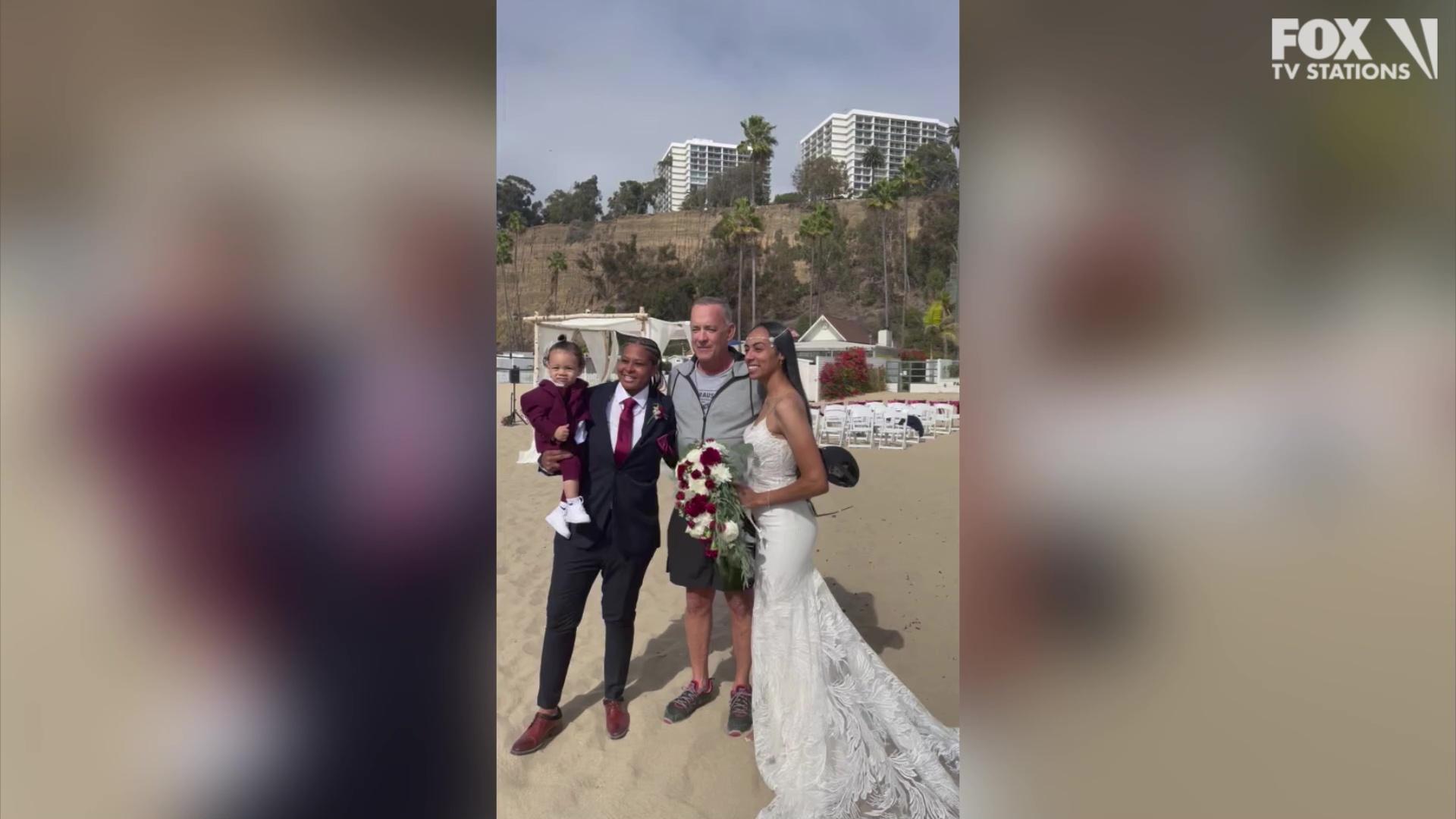 Tom Hanks crashes wedding in Santa Monica