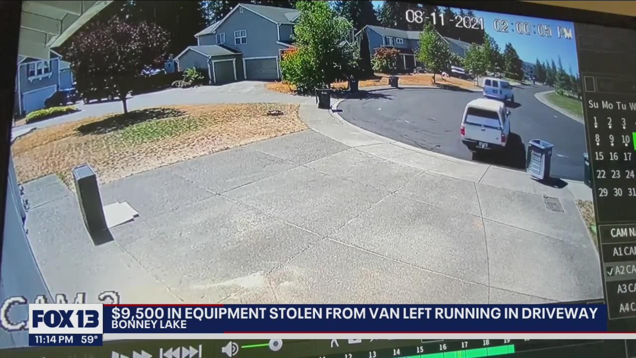 $9,500 in equipment stolen from van left running in driveway
