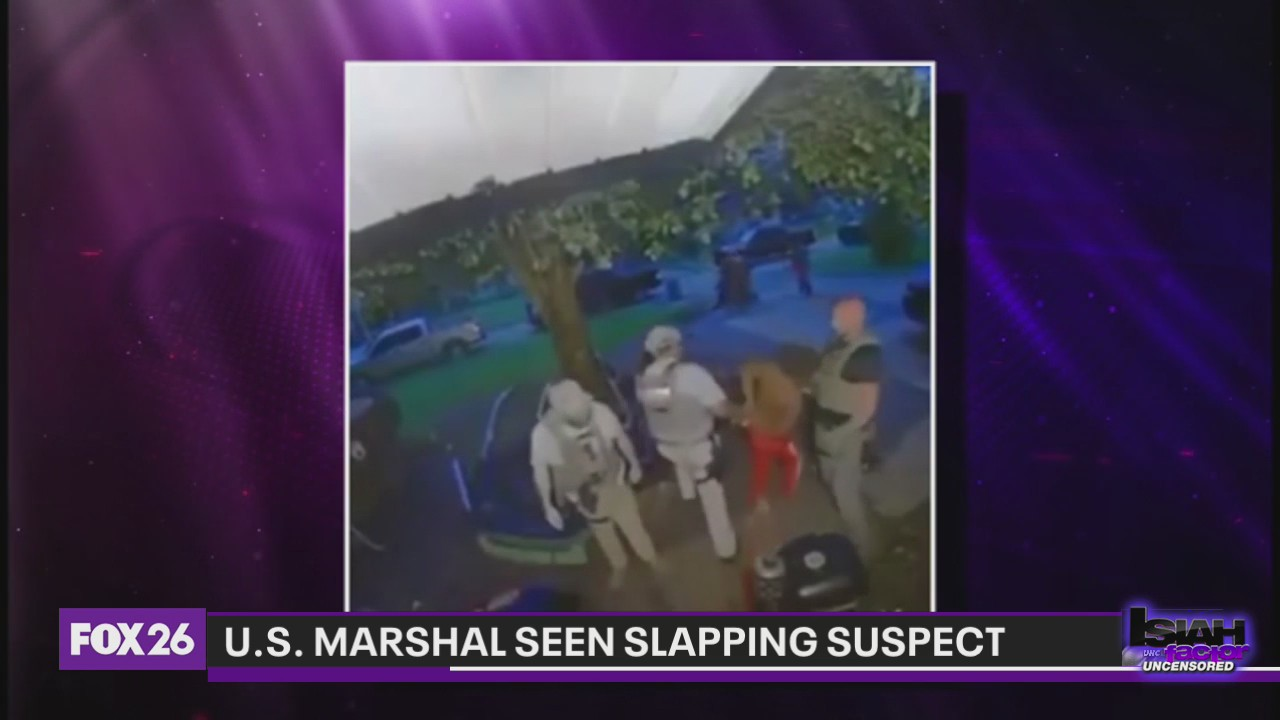 US Marshal seen on doorbell camera slapping handcuffed suspect