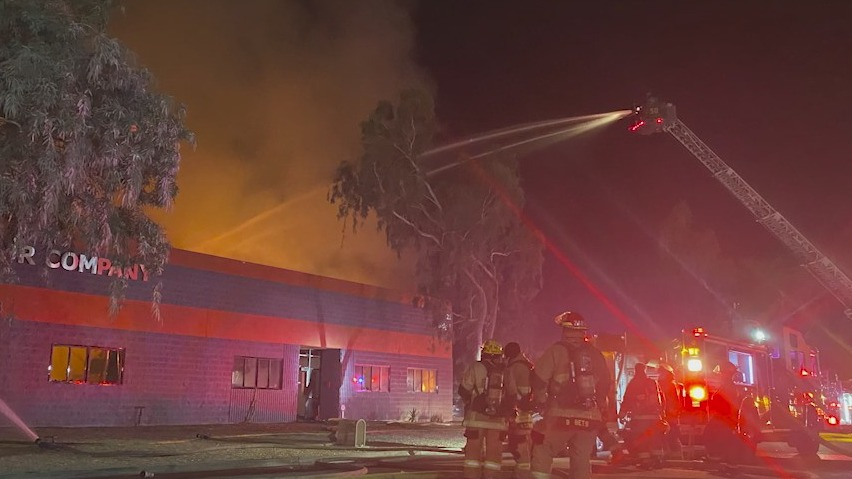 Fire breaks out at north Phoenix Tesla repair shop