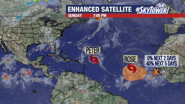 Tropical Storms Peter and Rose update; September 19, 2021