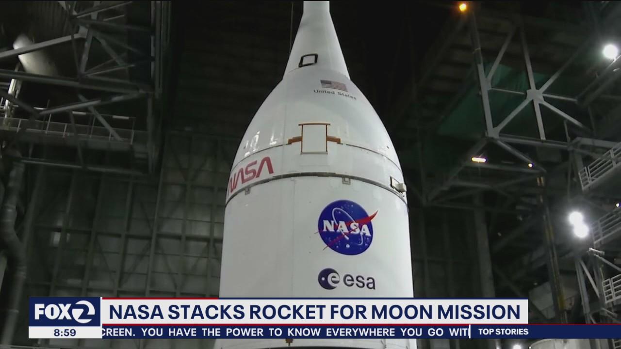 NASA stacks rocket for upcoming moon mission