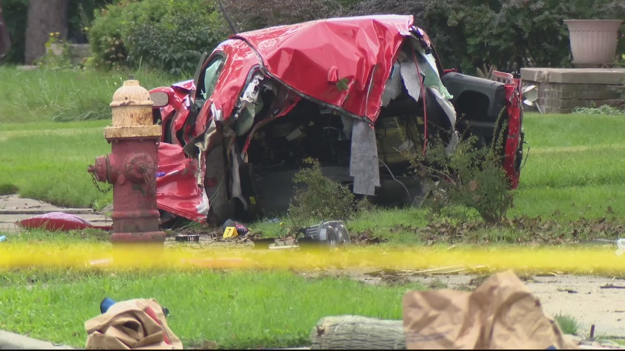 One dead, Dodge Challenger split in half after crashing at 100 MPH