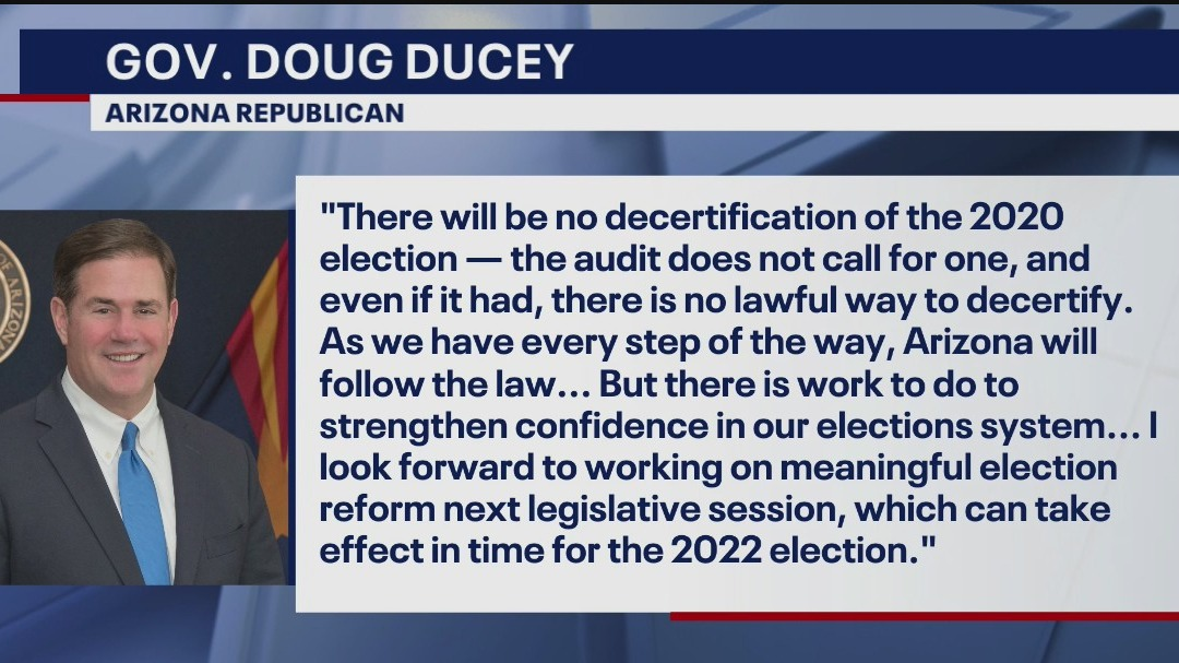 Gov. Doug Ducey, other Arizona leaders respond to election audit