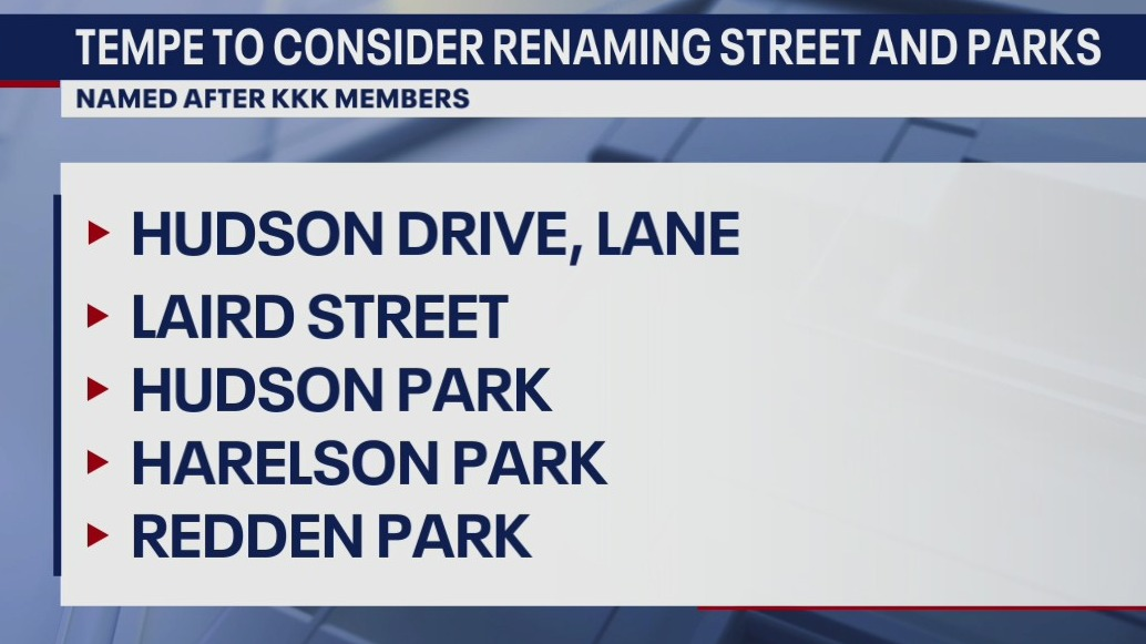 Tempe to consider renaming streets, parks named after KKK members
