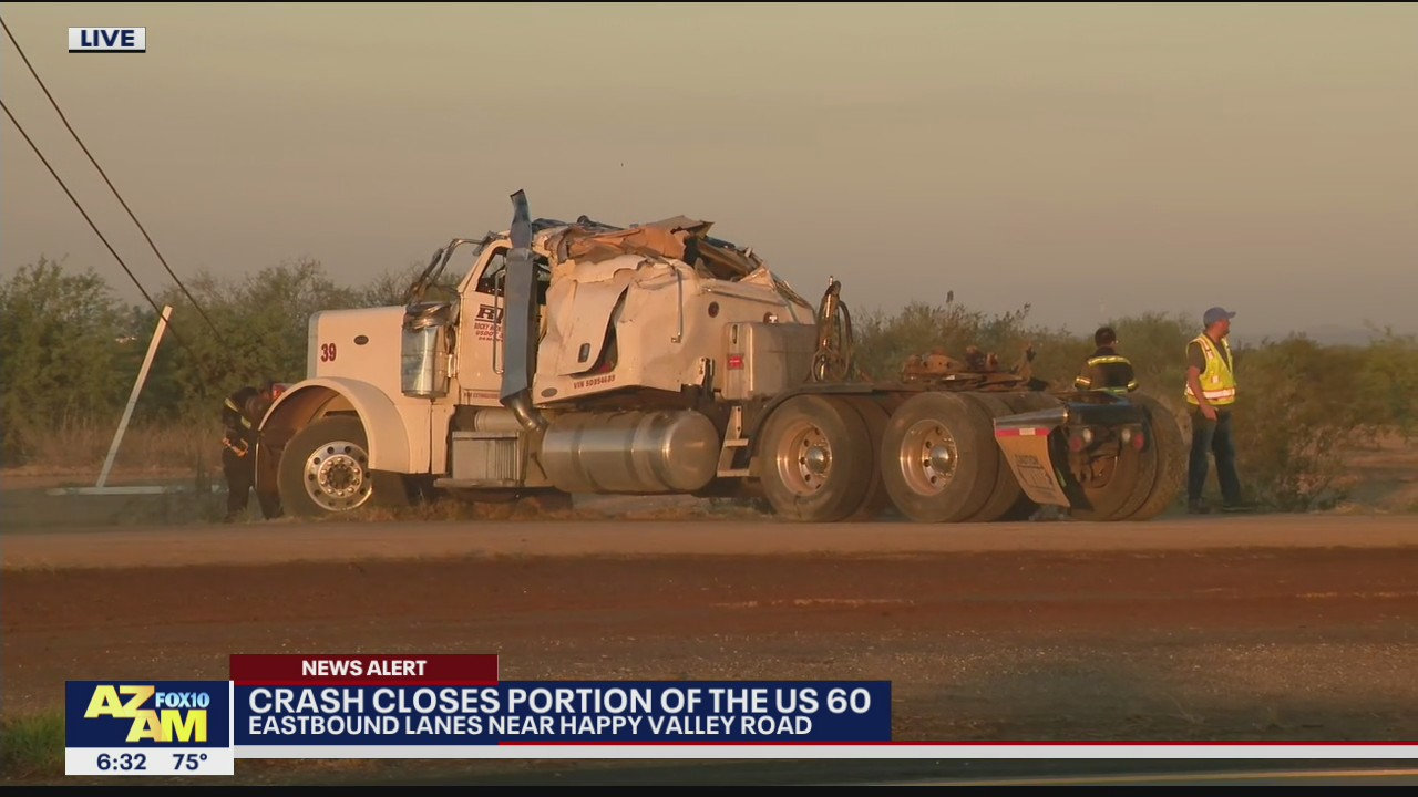 Semi-truck crash closes eastbound U.S. 60 near Happy Valley Road