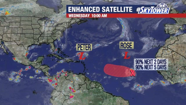 Tropical Storms Peter and Rose update: September 22, 20201