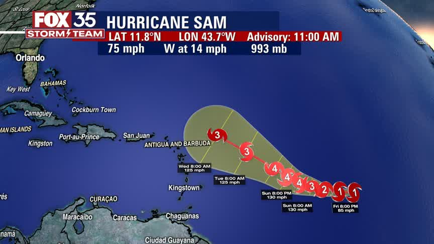 Hurricane Sam expected to strengthen into major Cat 4 storm